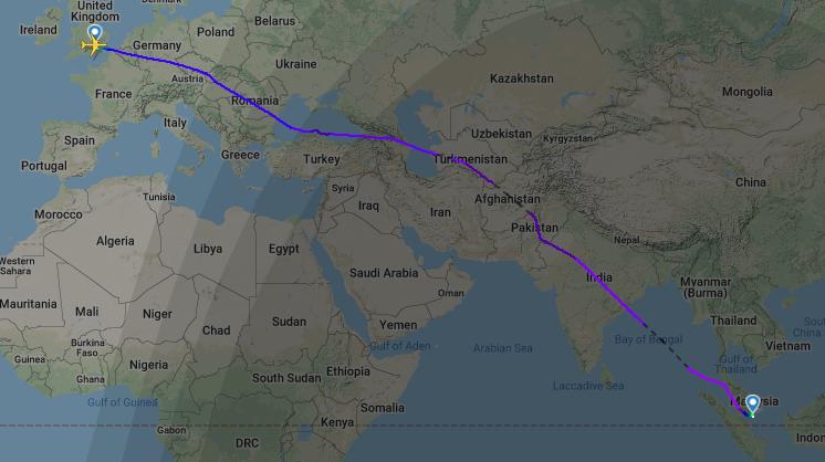 Ruta aérea entre el Reino Unido y Singapur, atravesando Afganistán