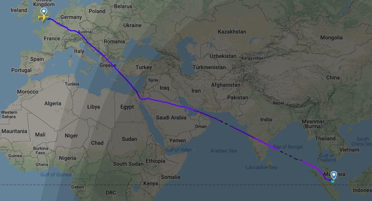 Nueva ruta entre el Reino Unido y Singapur, con el espacio aéreo de Afganistán cerrado