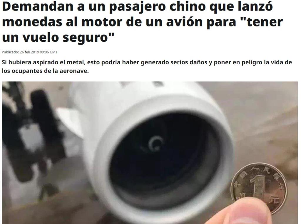 Pasajero chino arroja monedas a los motores de su avión antes de embarcar y es demandado por la aerolínea