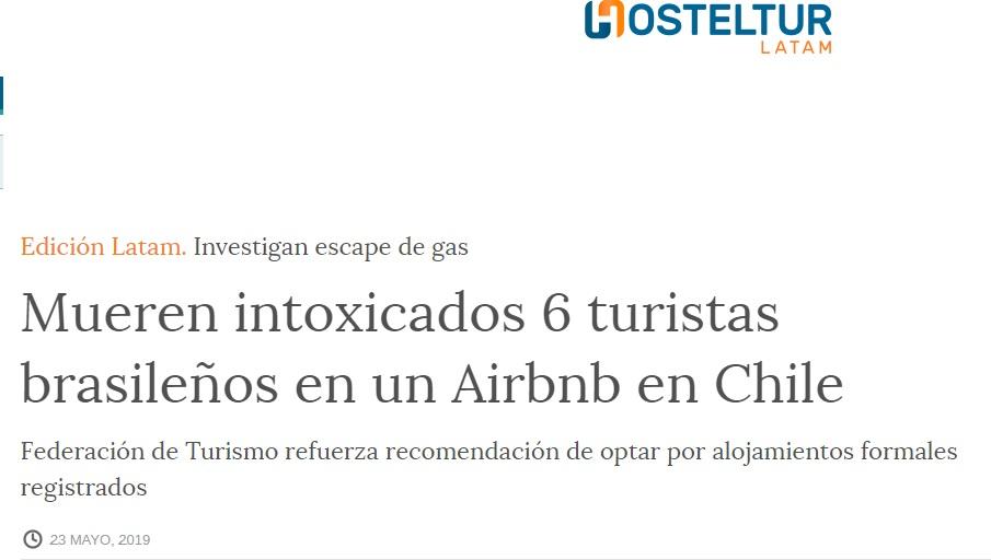 Noticia sobre fallecimiento de 6 turistas en un Airbnb de Chile