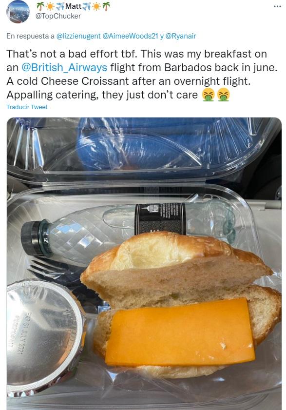 Desayuno en un avión de British Airways