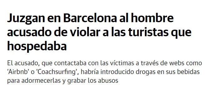 Noticia sobre violador de turistas en Barcelona.