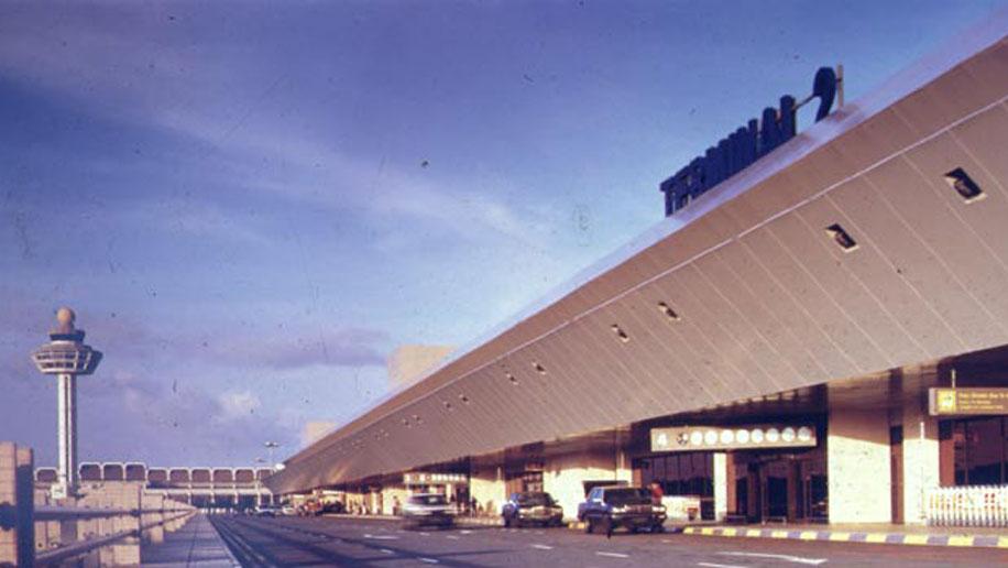 Terminal 2 del aeropuerto de Changi, en Singapur, en el año 1990