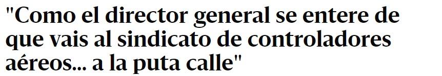 Noticia publicado en el Diario.es sobre amenazas a controladores aéreos
