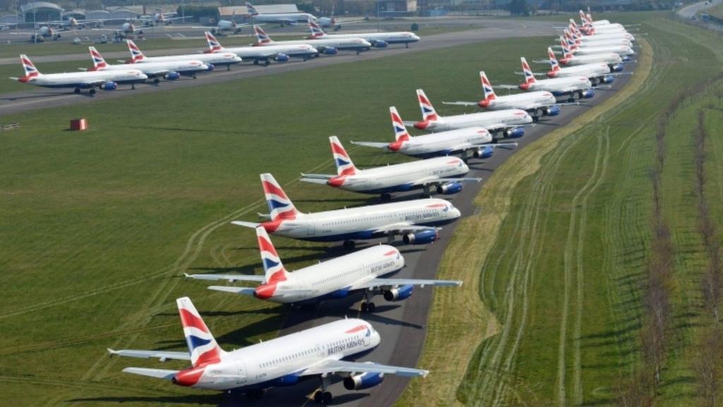 Aviones de British Airways estacionados durante la pandemia