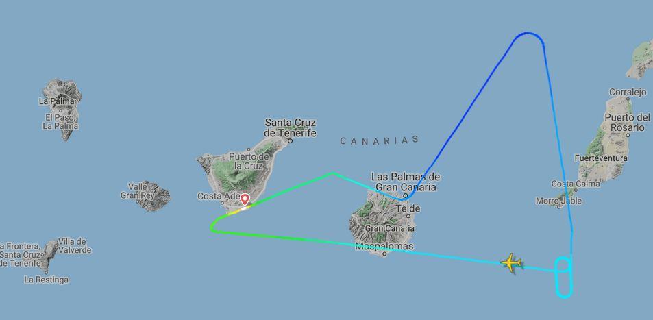 Trayectoria seguida por el Boeing 737 de Ryanair afectado por cenizas volcánicas